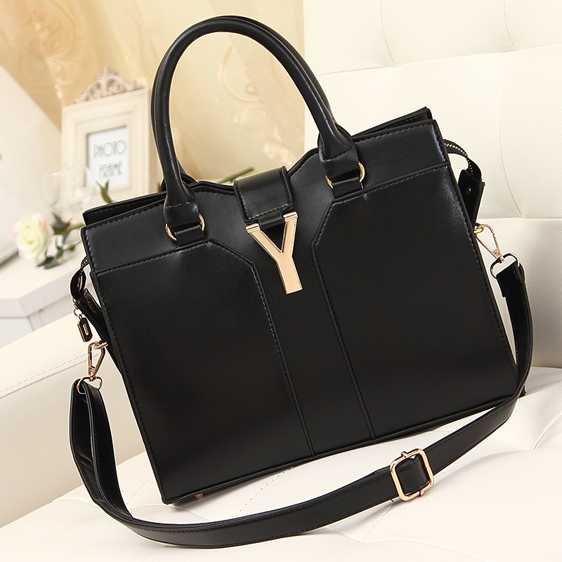 2015 women's winter handbag fashion vintage big black messenger shoulder strap handbags feminina PU leather bag - fashional accessories store