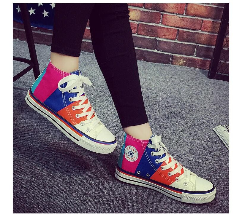 2016 New Women High Upper Platform Canvas Shoes Woman Lace-up Mixed Colors Casual Shoes Women Flat Walking Shoes Chaussure Femme