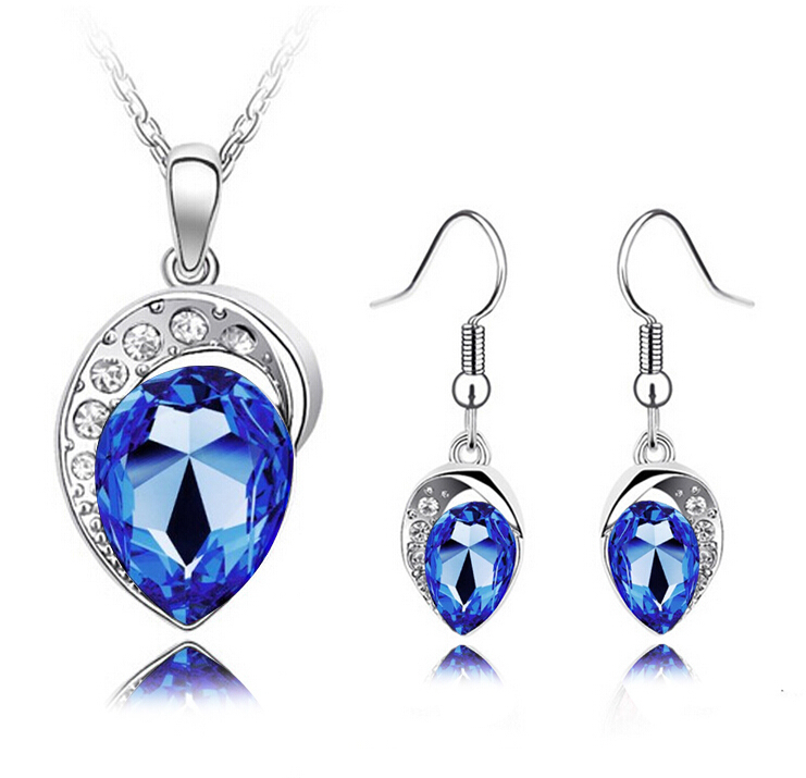 2014 18K Silver Plated Water Drop Shape Imitate Diamond Wedding Necklace+Earrings+Bracelet Sets Bridal Jewelry Women - JLB International trade CO.,LTD Store-NO. 1 store