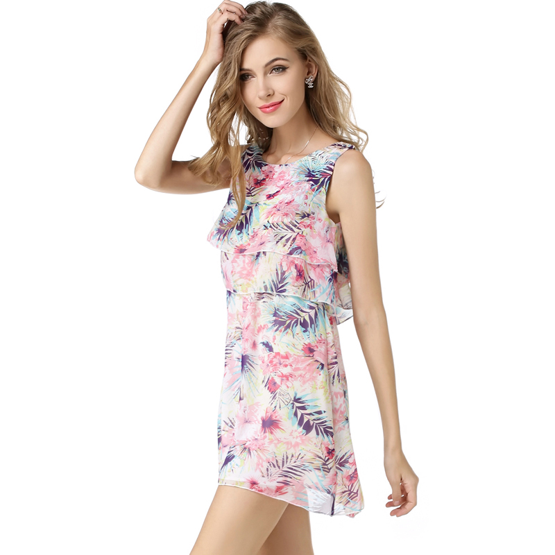 Fashion women cake style dresses girls flower print summer dress sleevless o-neck mini vestidos 2016 new arrival apparel(China (Mainland))