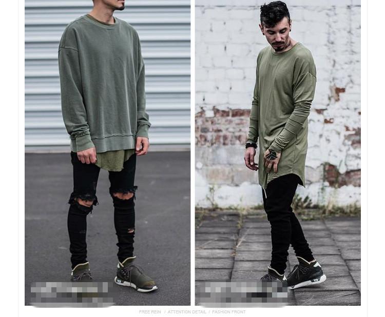 4f9e5ab4cd4 New T Shirt Men Fashion Brand Arc Cut Solid Clothes Hip Hop O Neck ...