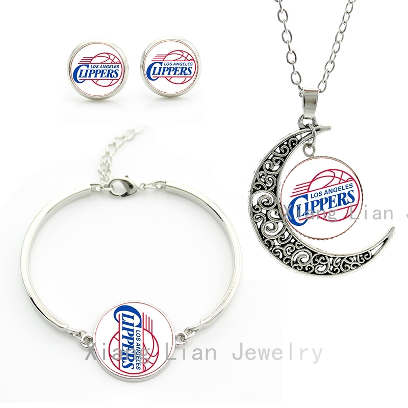 The most popular sports style american Clippers basketball team jewelry sets statement necklace earrings bracelet ball fans M66(China (Mainland))