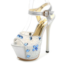 15cm Super High Heels Korea Princess Stiletto Sandals Peep Diamond Shoes Elegant Women Pumps Discount(China (Mainland))
