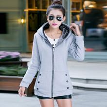 2016 Harajuku Plus Size Autumn Winter Women Casual Hoodies Sweatshirts Long Sleeve Hooded Fleece Warm Long Winter Coat Jackets(China (Mainland))
