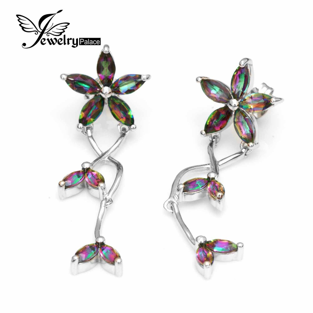 Fashion Solid 925 Sterling Silver 3.6ct Genuine Natural Fire Rainbow Mystic Topaz Marquise Cut Drop Earrings Top Quality Jewelry(China (Mainland))
