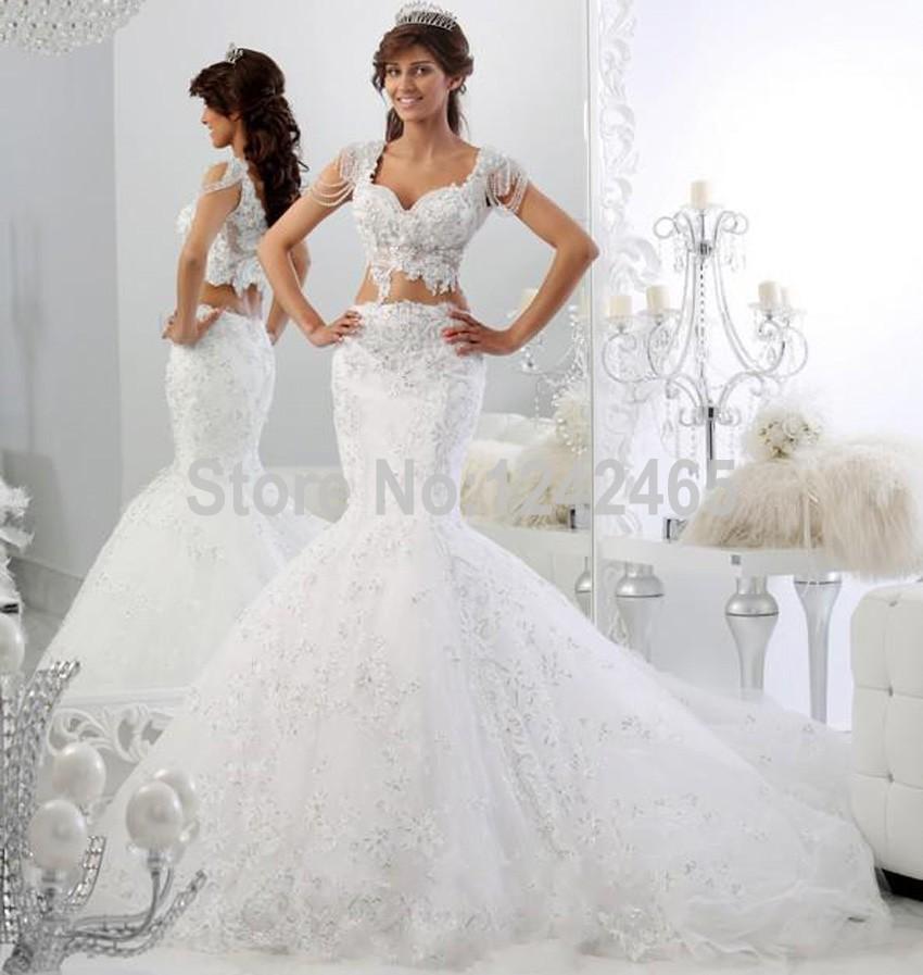 V Line Mermaid Wedding Dress : Popular piece wedding dresses buy cheap lots