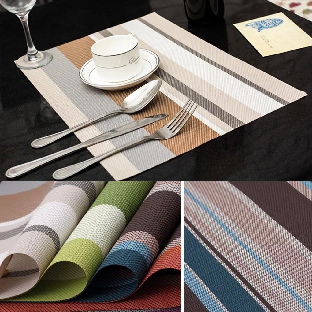 new arrive Food Network Terrace Stripe Placemat Multi Color Striped Kitchen Table pads PVC Mat hot sale(China (Mainland))