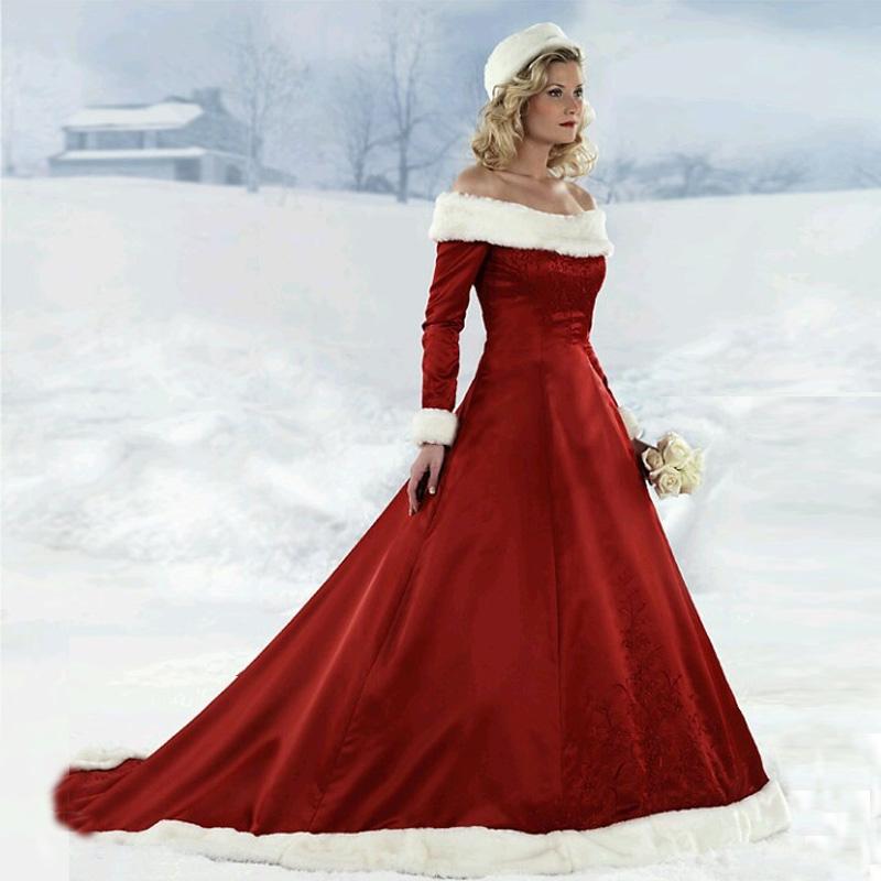 2014 Winter Off The Shoulder A Line Satin Fur Collar Red
