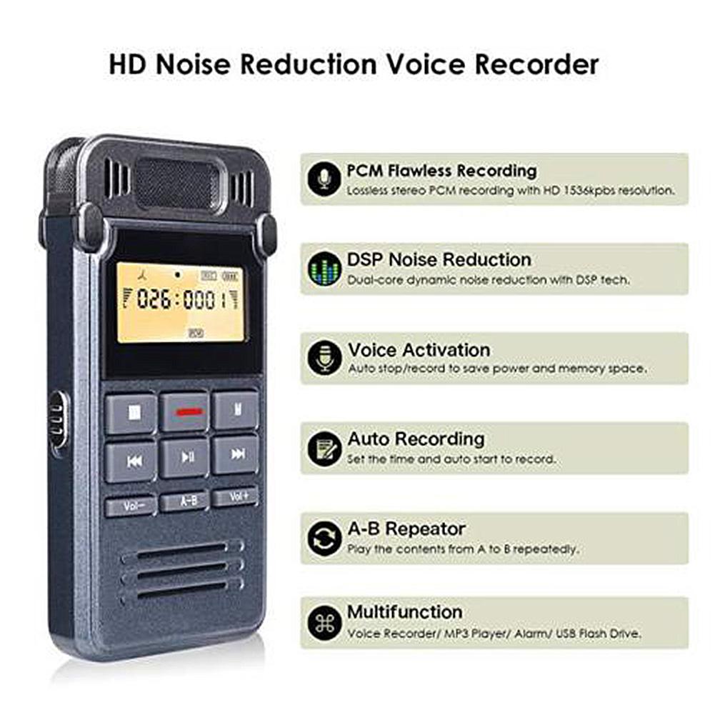 Портативный цифровой диктофон MP3 плейер с микрофоном Зарядка через usb звук аудио aeProduct.getSubject()