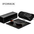 FONEX New Fashion Men Rimless Titanium Sunglasses women s Designer Polarized Square Frame Sun Glasses Shades
