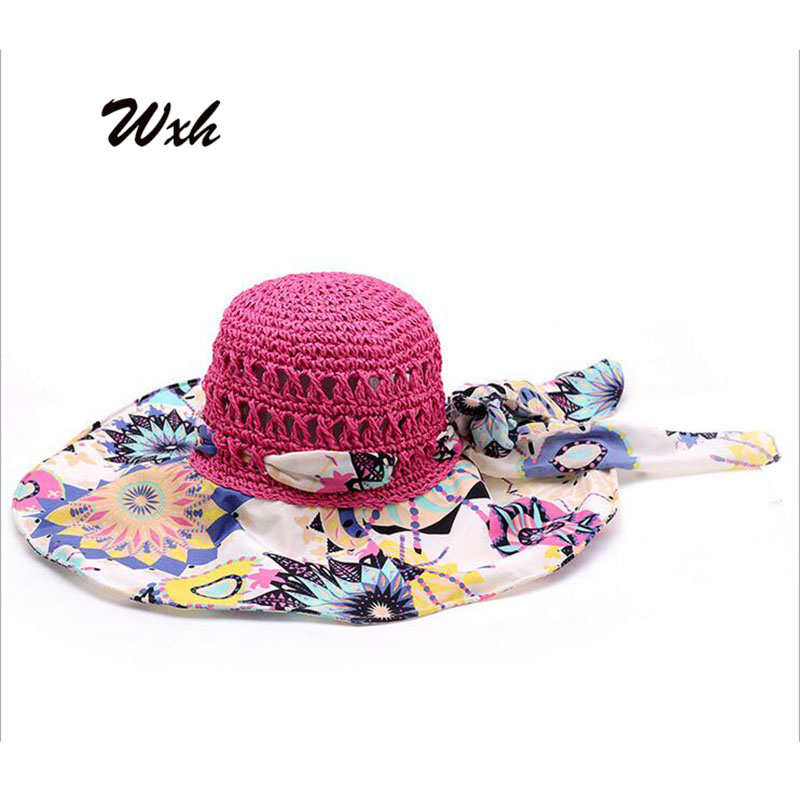 WXH New Fashion Lady Summer Hat Straw Hats Prevented Bask Basin of Beach Sun Hat Cap for Women Joining Together Red Pink(China (Mainland))