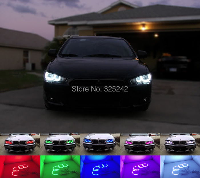 For Mitsubishi Outlander 2011 2012 non projector Excellent Angel Eyes kit Multi-Color Ultrabright RGB LED Angel Eyes Halo Rings(China (Mainland))