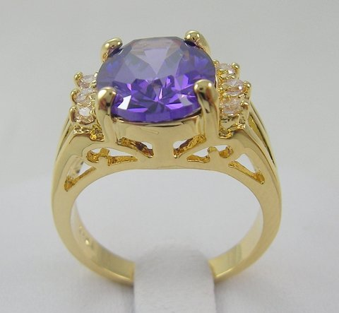 BRAND NEW MEN/LADY JEWERLY GORGEOUS ANTIQUE 2.56CT TOP PURPLE TANZANITE IN 14KT YELLOW GOLD RING