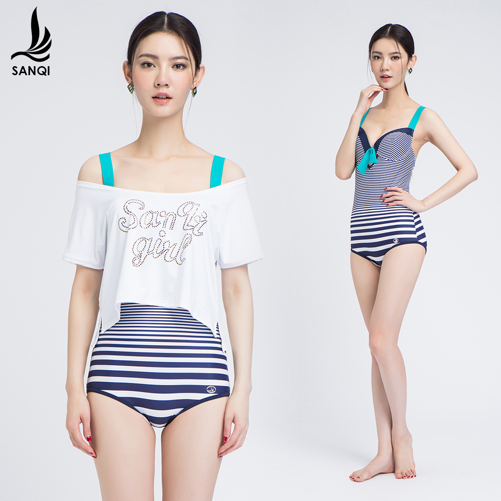 lady's one-piece swimwear cover Women's hot spring belt pad one piece navy stripe