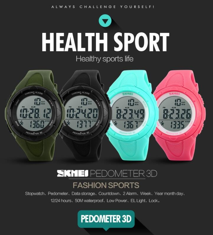 SKMEI Brand Casual Sports Women's Watches Waterproof Pedometer Digital Watch Outdoor LED Women Wristwatch Relogio Feminino