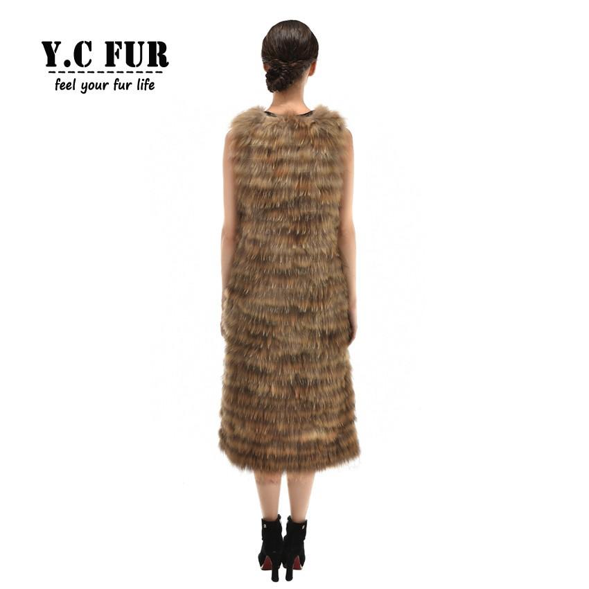 Plus Size Women Fur Vest Winter Autumn Strip Sewed Together Raccoon Dog Fur Vests X-Long Size Women Waistcoats Fur