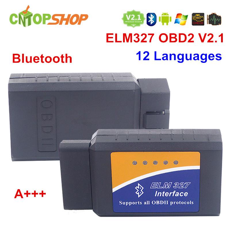 Hot ELM327 Bluetooth V2.1 OBD2 OBDii ELM327 V2.1 Diagnostic Tool ELM 327 Bluetooth Interface Support 7 Kinds OBD2 Protocols(China (Mainland))
