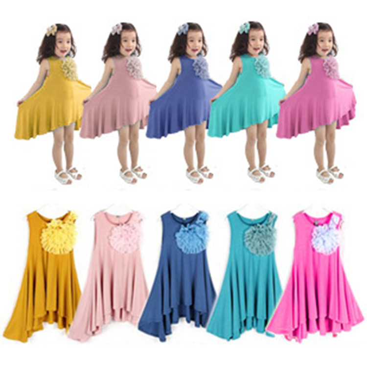 Retail 2015 girls Summer cotton vest dress Girls solid beach dresses girls Bohemian dresses children colorful party dress(China (Mainland))
