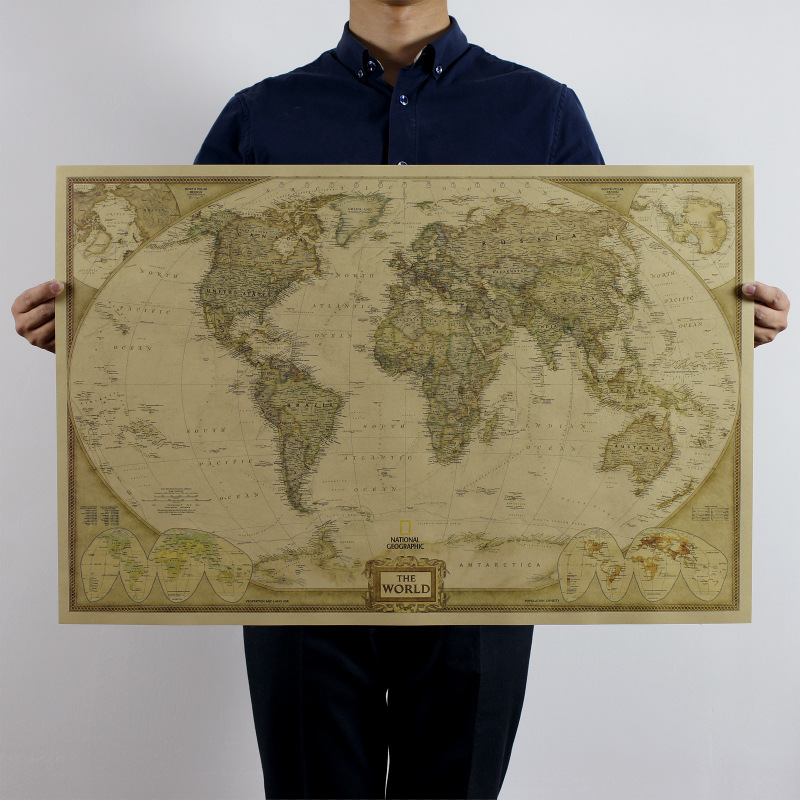 large vintage world map home decoration detailed antique poster wall chart retro paper matte. Black Bedroom Furniture Sets. Home Design Ideas