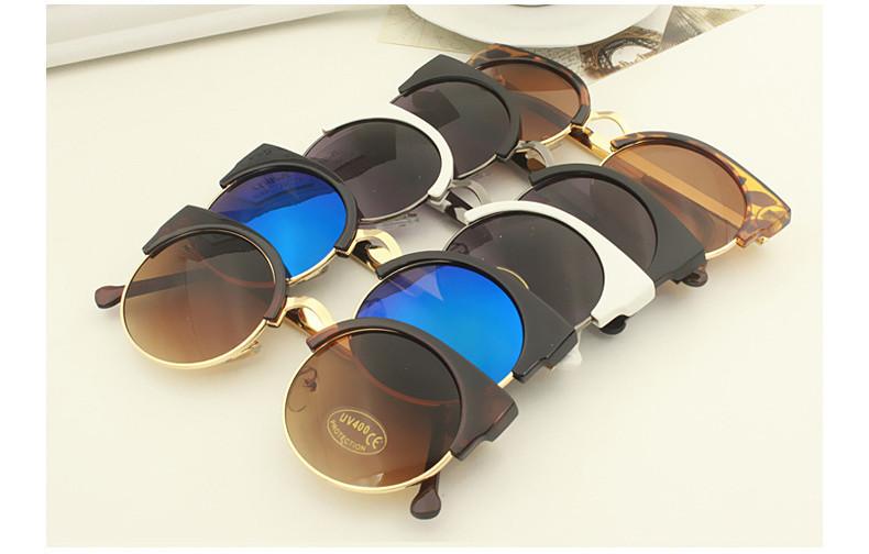 11 Colors Vintage Metal Frame Cat Eye Semi-Rim Round Sunglasses
