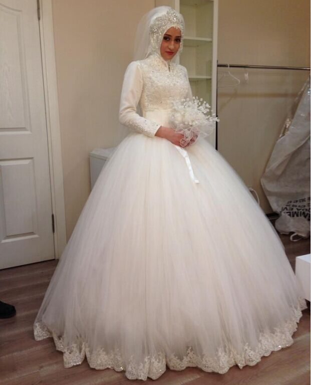 Hot sale muslim wedding dresses tulle applique lace long for Wedding dresses with sleeves for sale