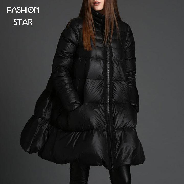 Звезда моды Бренд корейский дизайн парка толстая куртка женская Черная на молнии с длинным рукавом высокая конец строки плащ женские зимние куртки