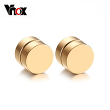 Magnetic Round Stud Earrings For Men Boy 316l Stainless Steel Magnet Ear Jewelry Don't Need Ear Canal(China (Mainland))