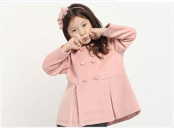 New Freeshipping Autumn winter pink khaki red Children Child girl Kids cute sweet trench coat wind coat jacket outwear PEDS09P08