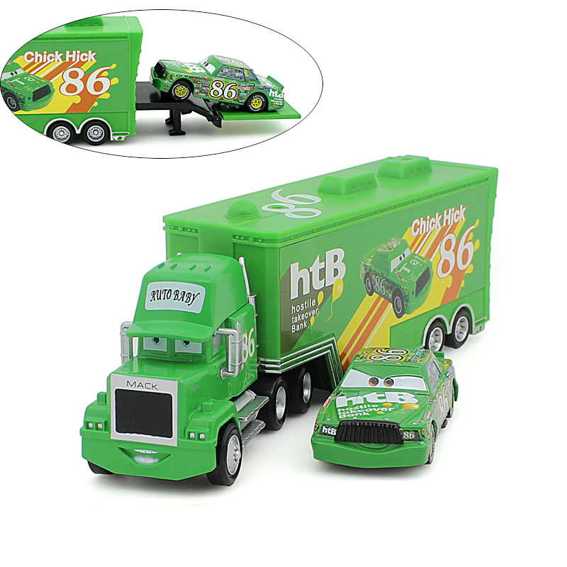 2Pcs/set Pixar Cars 2 children cast figure Chick Hicks toy Alloy Model Car for children Container Green Truck In 86 Container(China (Mainland))