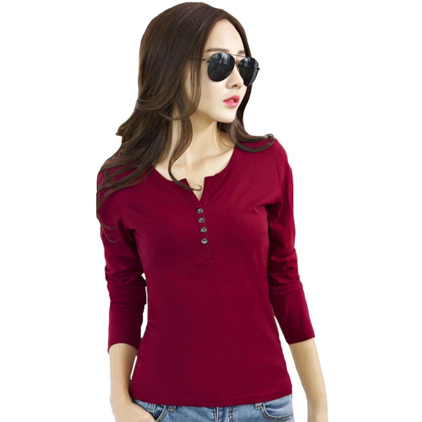 <font><b>T</b></font> <font><b>shirt</b></font> Women <font><b>Long</b></font> <font><b>Sleeve</b></font> V-neck <font><b>T</b></font>-<font><b>shirts</b></font> Woman <font><b>basic</b></font> Tshirt Poleras De Mujer Camisetas Y Tops Tee Vetement Femme Plus Size XXXL