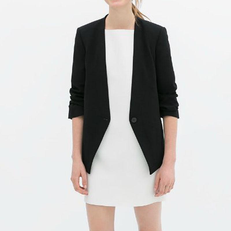 2015 Brand Design Women's New Brief Design Match-all Black/white color Adjustable Sleeve Blazer Suit Blazers(China (Mainland))