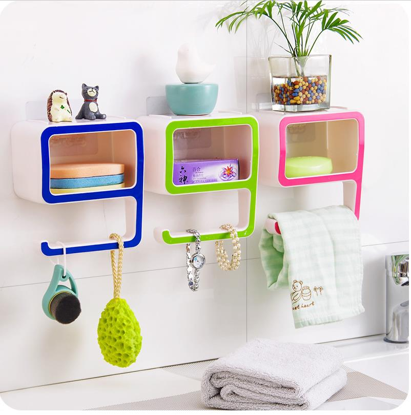 Creative Number 9 Storage Soap Rack Plastic Boxes Suction Make up Bathroom Organizers Decorate Home Pink Green Cosmetic Holder(China (Mainland))