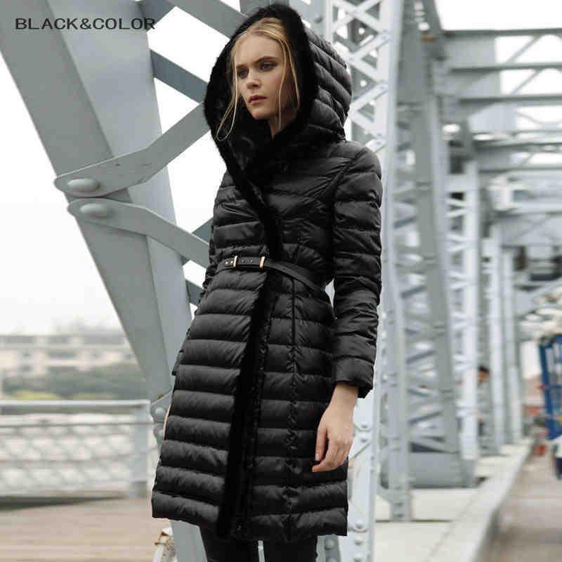 2014 Luxury Women Winter Mink Fur collar Thicken Slim Black Coffee Mid Long New Genuine Women Hooded Down Jacket OuterwearОдежда и ак�е��уары<br><br><br>Aliexpress