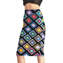 NEW Arrival 0004 Sexy Girl Women Summer Rainbow Plaid tartan National Prints Skater Evening Sexy Knee Length Tight Pencil Skirt