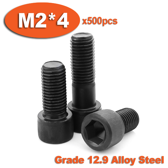 500pc DIN912 M2 x 4 Grade 12.9 Alloy Steel Screw Black Full Thread Hexagon Hex Socket Head Cap Screws<br><br>Aliexpress