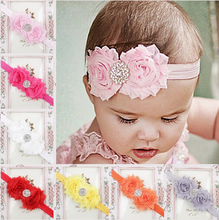 Chiffon Shabby Flower Headbands For Girls Hair Accessories Infant Hair Bow Hairband With Star Rhinestones Buttons Headwear