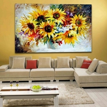 100% Hand Painted Sunflower Oil Painting on Canvas Flower Palette Knife Painting Frameless Canvas Wall Painting for Living Room(Hong Kong)