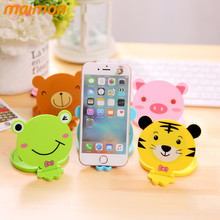 Novelty Cartoon Animal Makeup Mirror Multifunction Mini Portable Pocket Mirror with Comb Cell Phone Holder Cosmetic Mirrors(China (Mainland))
