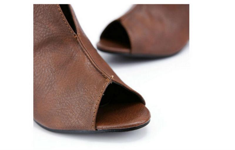 2015 Spring Summer Womens Black Brown White Peep Toe Wedge Ankle