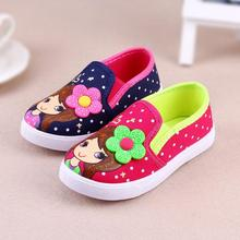 New spring 2016 baby moccasins shoes Girls canvas shoes for children Cute little flowers shoes to help low Z&L188(China (Mainland))