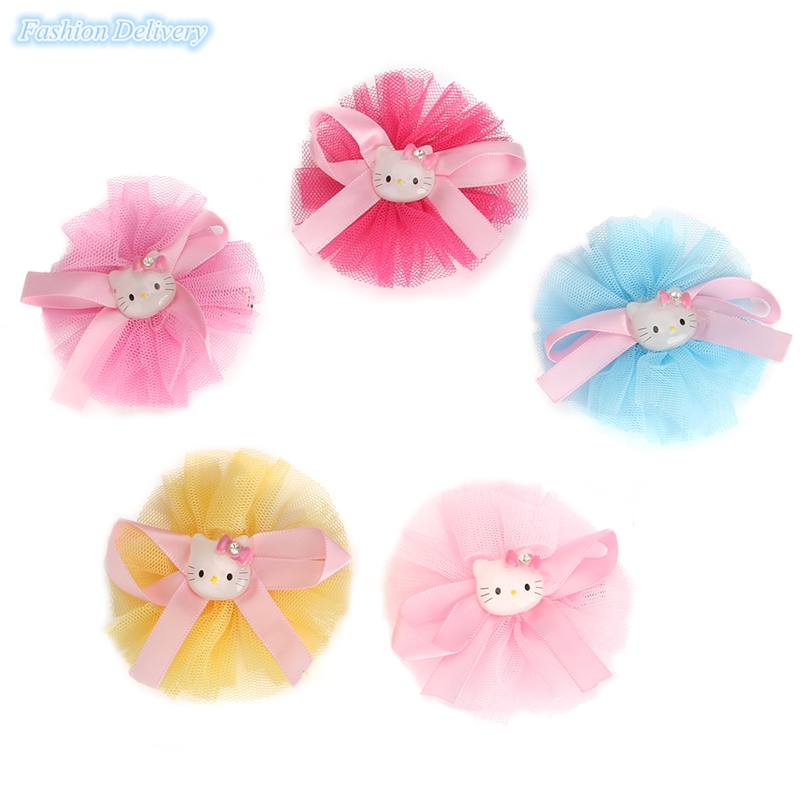 10pcs/lot Cute Lace Ribbons Bow-knot Hello Kitty Hairpins Hair Clips Girls Hair Accessories Styling Tools Trinkets For Children(China (Mainland))