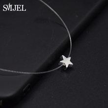 SMJEL petit coeur ras du cou colliers à la mode Invisible chaîne Collier étoile Femme Collier Femme Bijoux Bijoux(China)