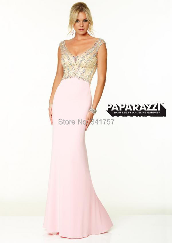 Luxury Beaded Evening Dress Baby Pink 2015 Vestidos Para Festa Mermaid Sheer Back Long Party Dresses Cap Sleeve Chiffon EL920 - Full Romantic Wedding store