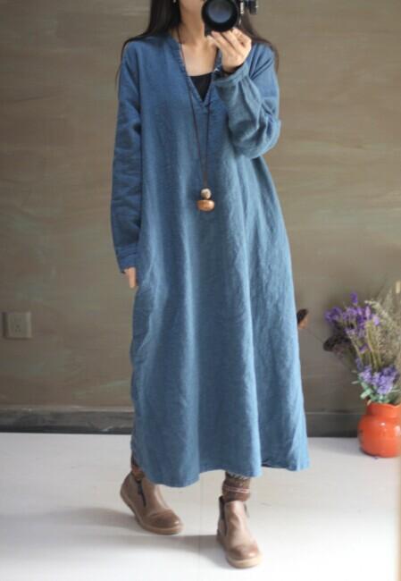 2014 New Arrivals Women's Long Dresses Linen Dresses Ladies' One-piece Dresses Long Gown 17390-3(China (Mainland))
