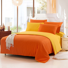 2015 NEW Hot!Free Shipping Orange Yellow Plain Double 4PCS Bedding Sets Brief Solid Color patchwork quilt cover BED SET bedcover(China (Mainland))
