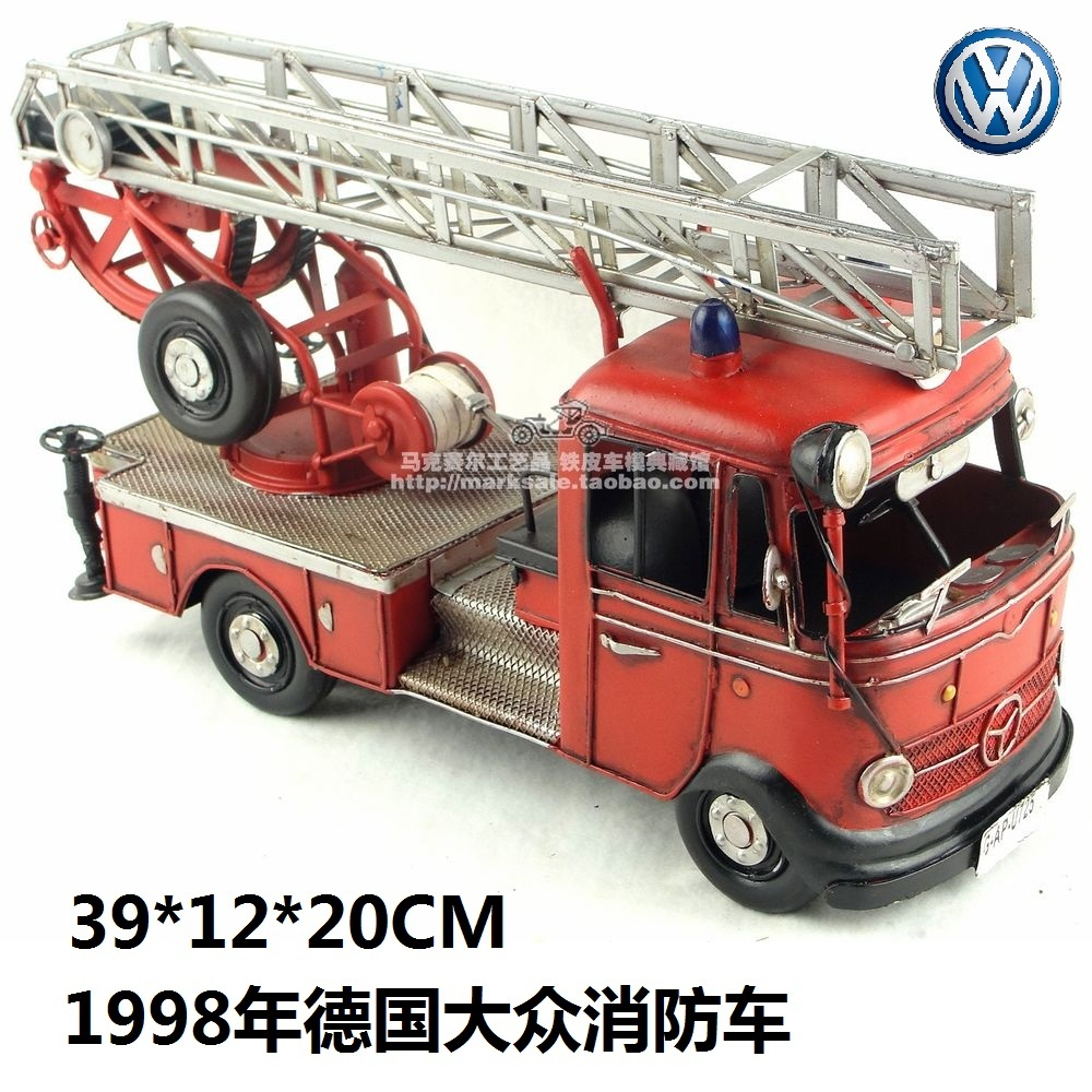 High Quality 1998 Volkswagen Fire Engine Model Creative Mini Iron Fire Truck Best Gift Home Bar Decoration(China (Mainland))