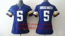 100% stitched women Minnesota Vikings ladies 5 Teddy Bridgewater 28 Adrian Peterson 84 Cordarrelle Patterson Embroidery Logos(China (Mainland))