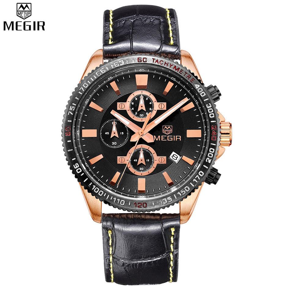 MEGIR Chronograph Men's Quartz Watch Luxury Brand Analog Date 6 Hands 24 Hours Sport Men Wristwatch relogio masculino /ML3001 - Exceptional Store store