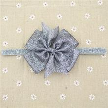 210-58 Aureate bowknot  Gold Bow   Gold Satin Headband Baby Hair Bows Toddler Headband Newborn Headband1pcs