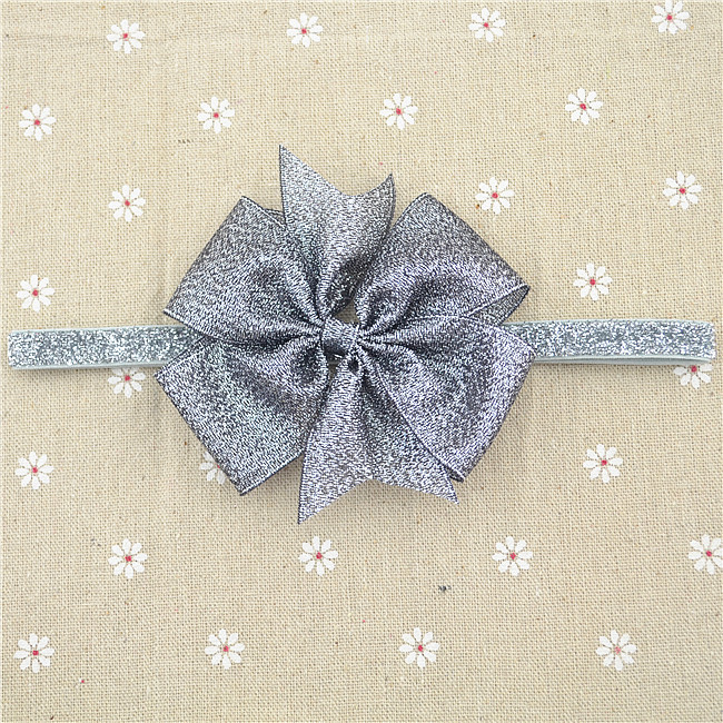 210-58 Aureate bowknot Gold Bow Gold Satin Headband Baby Hair Bows Toddler Headband Newborn Headband1pcs